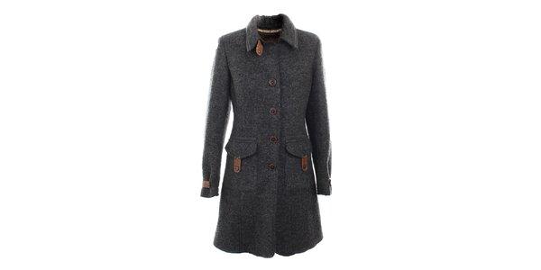 Dámsky šedý vlnený kabát s koženými detailmi Aeronautica Militare