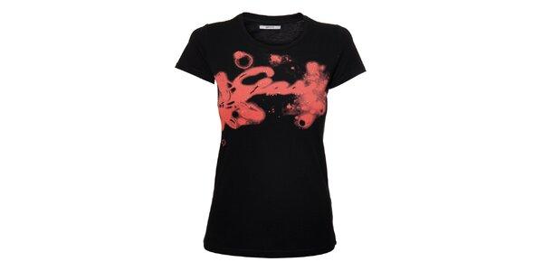 Dámske čierne tričko Gas s ružovou potlačou a kamienkami