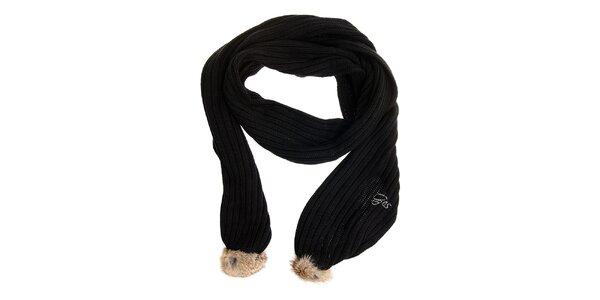 Dámsky čierný šál Gas s kožúškom