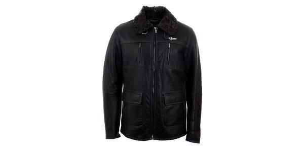 Pánska čierna kožená bunda s kožúškom Aeronautica Militare