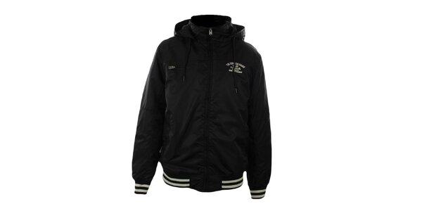 Pánska čierna bunda s kapucňou Exe Jeans