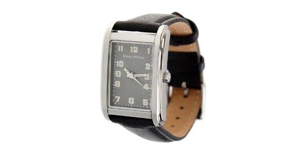 Dámske náramkové hodinky Marc O´Polo s čiernym koženým remienkom
