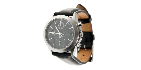 Dámske ocelové hodinky Marc O´Polo s čiernym koženým remienkom