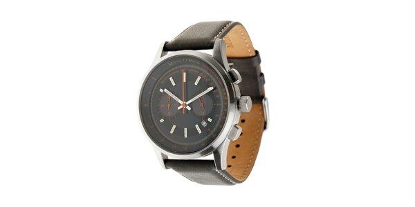 Pánske hodinky Marc O´Polo s tmavo šedým koženým remienkom a čiernym ciferníkom