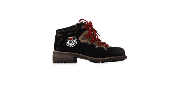 e52c898d43 Dámske čierne kožené farmárky Elite s červenými šnúrkami