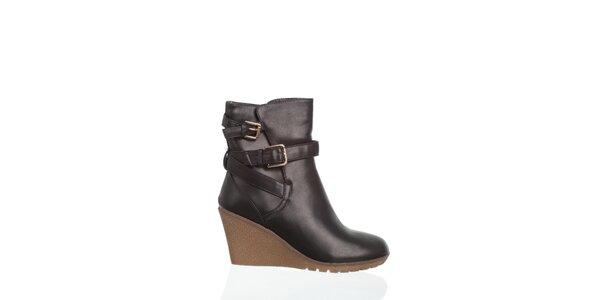 Dámskečierne členkové topánky Moow s prekríženými remienkami