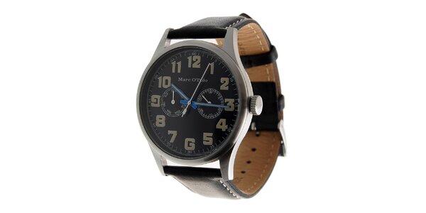 Pánske ocelové hodinky Marc O´Polo s čiernym koženým remienkom