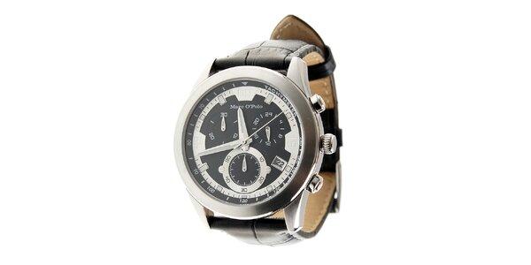 Štýlové ocelové hodinky Marc O´Polo s čiernym koženým remienkom