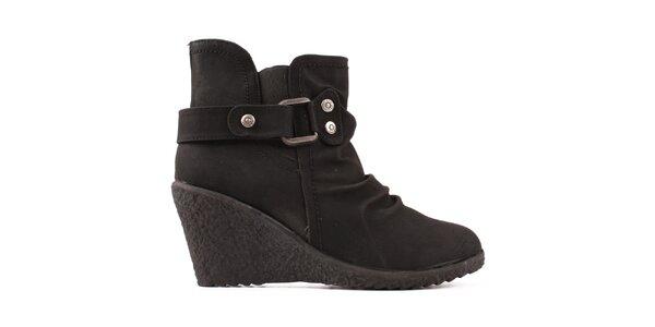 Dámske čierne členkové topánky Spot On