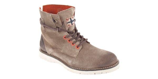 Pánske šedohnedé kotníčkové topánky Napapijri