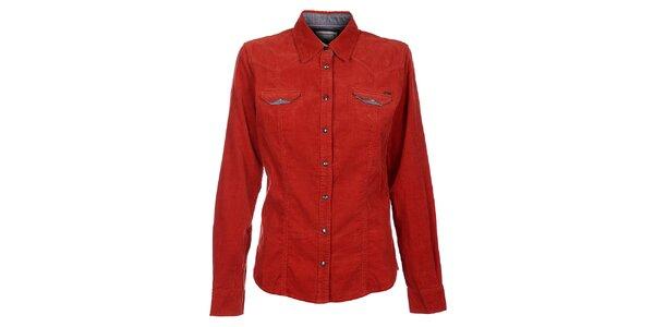 Dámska červená menčestrová košeľa Timeout
