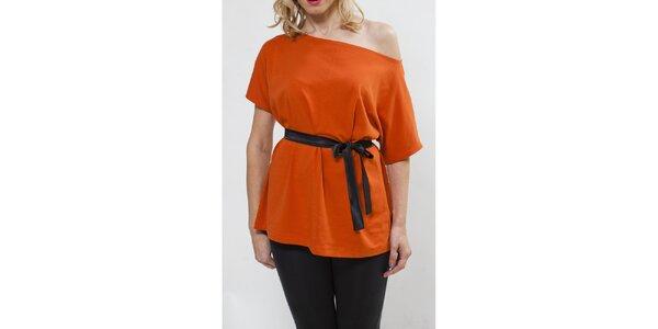 Dámsky oranžový top so spadnutým ramenom Mera