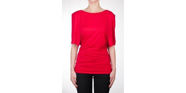 Dámsky červený top s asymetrickými rukávmi Mera