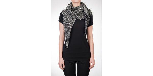 Dámske čierne tričko s vlneným šálom Mera
