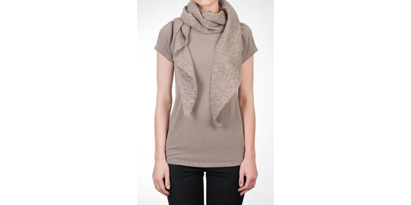 Dámske béžové tričko s vlneným šálom Mera