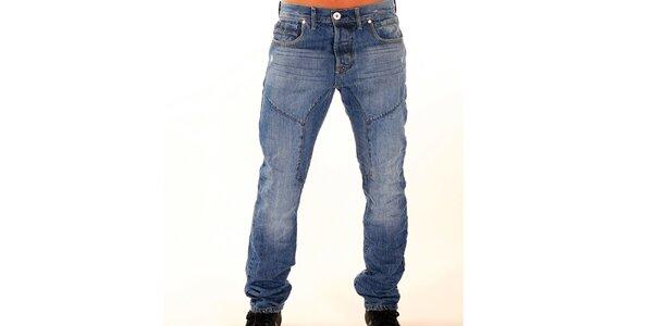 Pánske modré džínsy s vyšisovanými kolenami New Caro