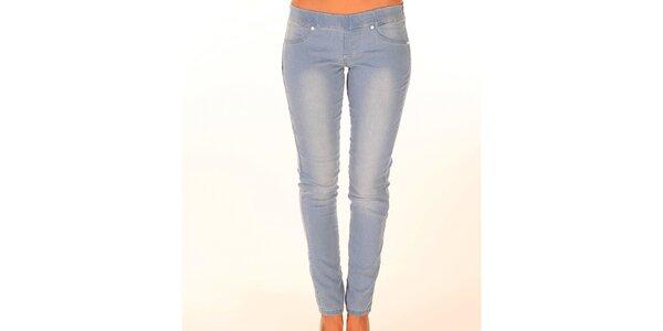 Dámske svetlo modré džínsy s elastickým pásom New Caro