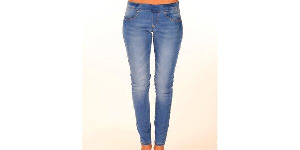 Dámske modré džínsy s elastickým pásom New Caro