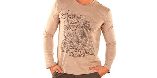 Pánske béžové tričko s dlhým rukávom New Caro