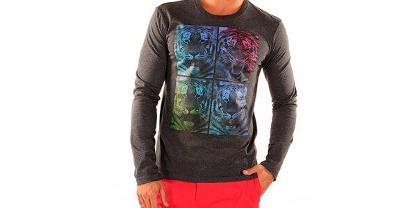 Pánske tmavo šedé tričko s dlhým rukávom New Caro