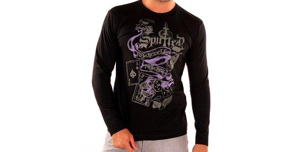 Pánske čierne tričko s dlhým rukávom New Caro