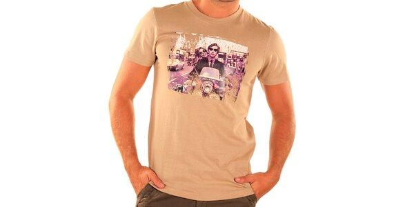 Pánske béžové tričko s krátkym rukávom New Caro