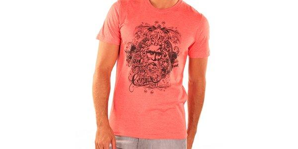 Pánske tmavo lososové tričko s krátkym rukávom New Caro