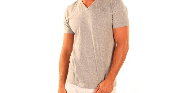 Pánske šedé tričko s véčkovým výstrihom New Caro