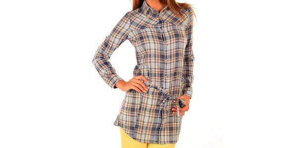 Dámska dlhá kockovaná košeľa s kamienkami New Caro