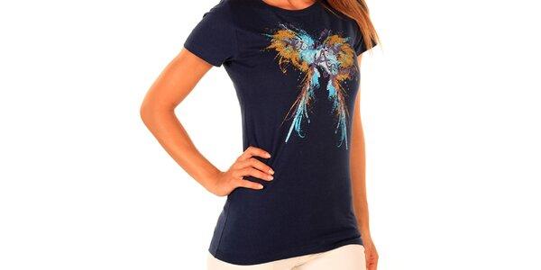 Dámske tmavo modré tričko s potlačou New Caro