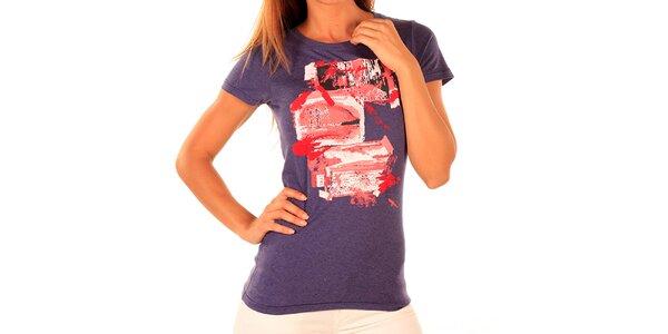 Dámske fialové tričko s potlačou New Caro