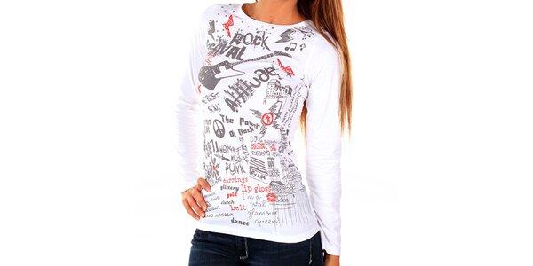 Dámske biele tričko s potlačou New Caro
