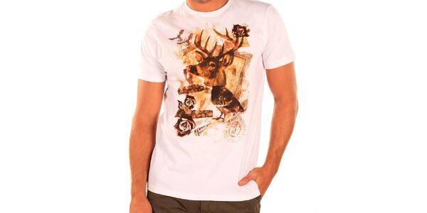 Pánske biele tričko s krátkym rukávom New Caro