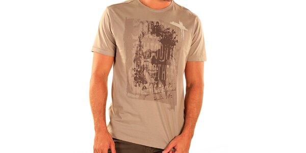 Pánske svetlo hnedé tričko s krátkym rukávom New Caro