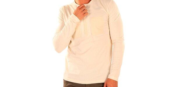 Pánske tričko s dlhým rukávom a rozopínacím výstrihom New Caro