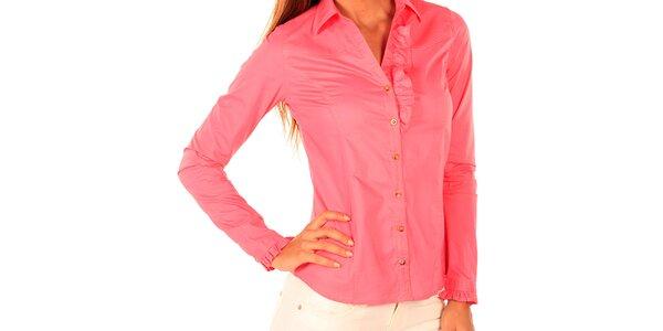 Dámska ružová košeľa s volánikom New Caro