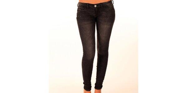 Dámske antracitové džínsy so zipsami New Caro