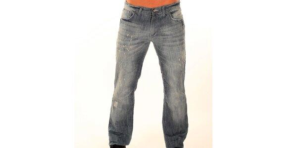 Pánske šedé džínsy s fiktívnymi trhlinami New Caro