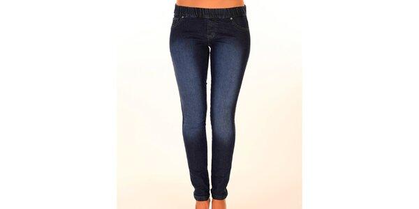Dámske tmavo modré džínsy s elastickým pásom New Caro