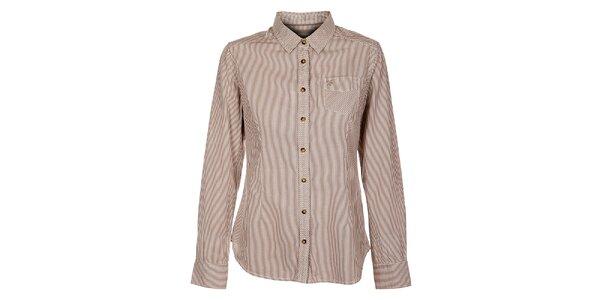 Dámska hnedá prúžkovaná košeľa Timeout
