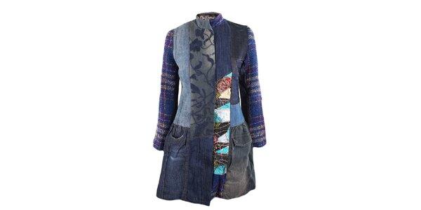 Dámsky džínsový kabátik s látkovými detailmi Desigual