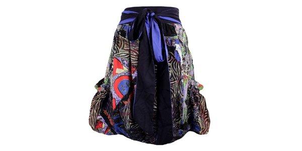 Dámska čierno-fialová sukňa s potlačou a mašľou Desigual