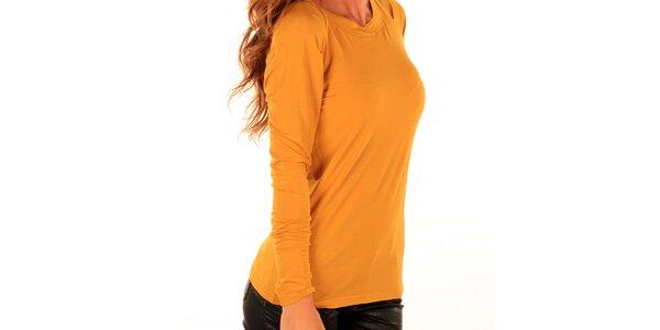 Dámske žlté tričko s dlhým rukávom Trussardi