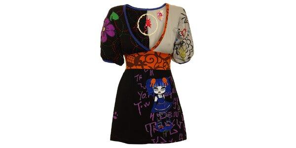 Dámska čierno-šedá tunika s oranžovým pásom a modrou bábikou Dislay DY Design