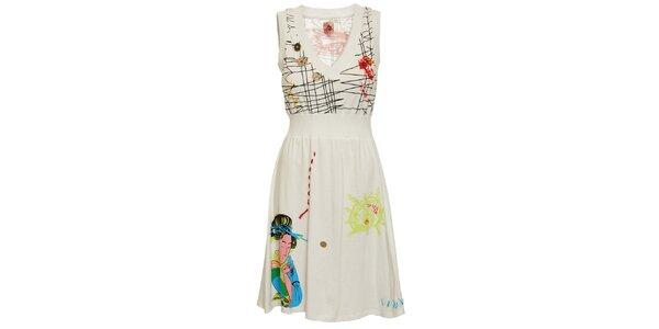 Dámske biele šaty Dislay DY Design s potlačou