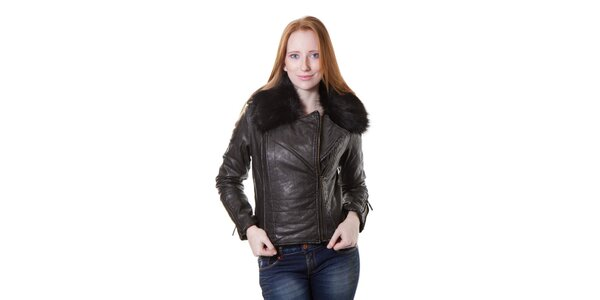 Dámska čierna bunda Yes!Miss v motorkárskom štýle