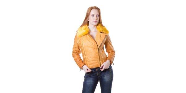 Dámska žltá bunda Yes!Miss s kožúškom