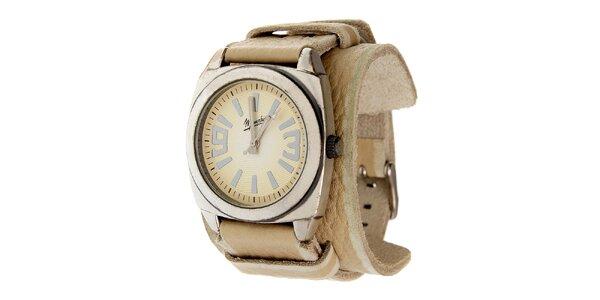 Dámske oceľové hodinky Memphis so širokým béžovým remienkom