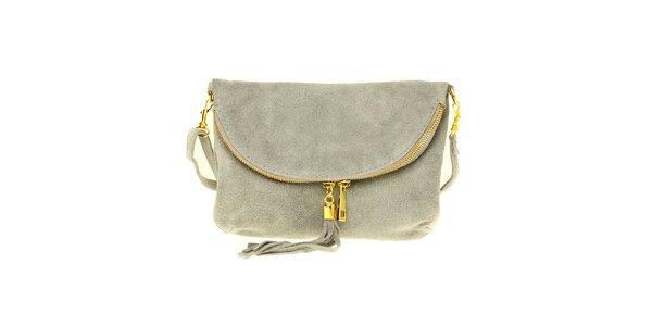 Dámska šedá semišová kabelka so strapcom 0c8f207a96d
