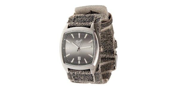 Strieborné oceľové hodinky Memphis so žíhaným remienkom